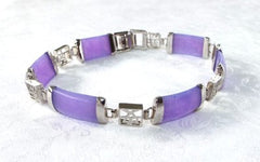 Today's Special-Lavender Jade and Silver Calligraphy Link  Bracelet 8""