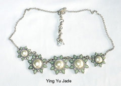 "Elegant Flowers"" Jade and Pearl Necklace (Neck-8)"