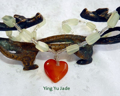 Elegant Chinese Jade Bead Necklace with Heart 16""