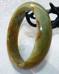 """Elegant Earth"" Chinese  ""River Jade"" Bangle Brace;et  59.5mm (NJ2175)"