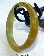 """Sweet Earth"" Natural Color Chinese Jade Bangle 53.5mm (NJ2221)"