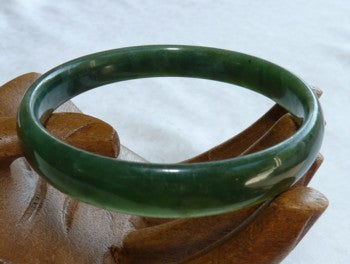 """Luminous"" Deep Deep Green Chinese Jade Bangle Bracelet 57mm (NJL2232)"