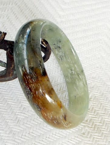 """Ice on Earth"" Chinese River Jade Bangle Bracelet 60mm (NJ2253)"