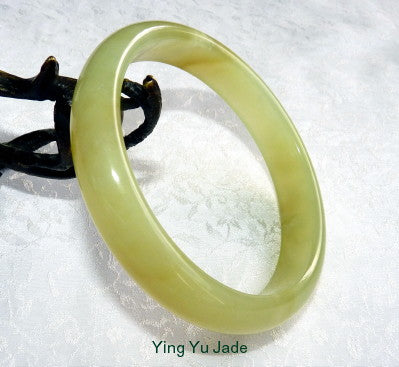 """Don't Worry Be Happy"" Chinese Jade Bangle Bracelet 70mm (NJ2585)"