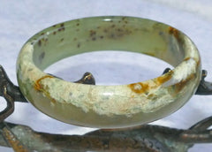 """Snow Clouds"" Soothing Chinese ""River Jade"" Bangle Bracelet 61mm (NJ2331)"