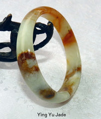 """Keep Calm and Carry On"" Natural Color Chinese Jade Bangle 54mm (NJ2339)"