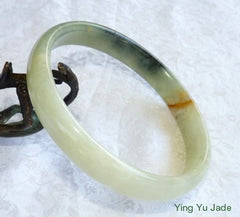 "Large Mens Three Color ""Fu Lu Shou"" Chinese River Jade Bangle Bracelet 79mm  (NJ2362)"
