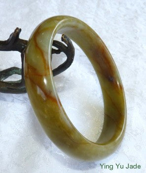 """Hong Red Veins"" Chinese River Jade Bangle Bracelet 61mm (NJ2366)"