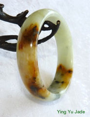 """Colors of Earth"" Chinese River Jade Bangle Bracelet 60mm (NJ2382)"