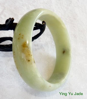 """Clouds and Butterfly Tracks"" Healing Chinese River Jade Bangle Bracelet 60mm (NJ2387)"