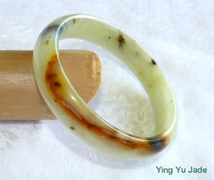 Fu Lu Shou Three Color Chinese Jade Bangle Bracelet 60mm (NJ2389)
