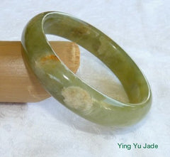 """Cloud Above, Earth Below"" Natural Color Chinese Jade Bangle Bracelet 58mm (NJ2398)"
