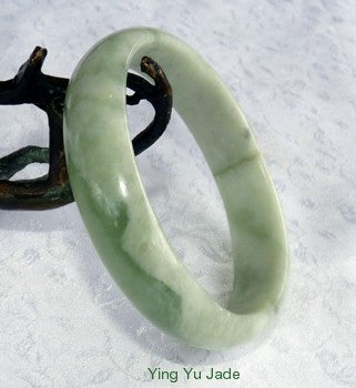 """Flow of Life"" Varied Green Chinese Jade Bangle Bracelet Natural Color 60.5mm (NJ2506)"