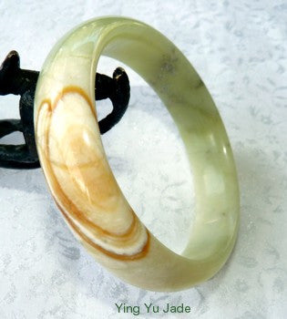 """Healing Cloud"" Chinese River Jade Bangle Bracelet 60mm (NJ2509)"