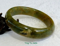 """Passion for Life""  Deep Green and Hong-Honey Chinese ""River Jade"" Bangle Bracelet 59mm (NJ2526)"