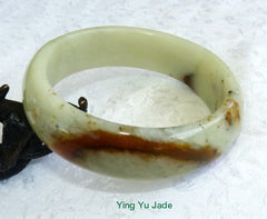 """Flowing Earth"" Chinese ""River Jade"" Bangle Bracelet 59mm (NJ2527)"