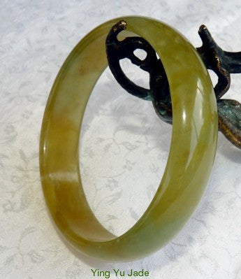 """Blessed Earth"" Translucent Green and Honey Chinese River Jade Bangle Bracelet60mm (NJ2529)"