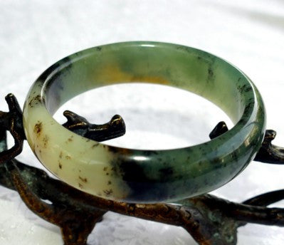 """Clouds Above, Earth Below"" Chinese ""River Jade"" Bangle Bracelet 60mm (NJ2531)"