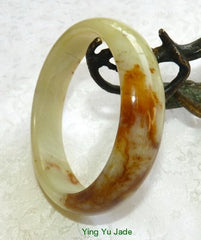 """Honey Heals"" Chinese River Jade Natural Color Bangle Bracelet 59mm (NJ2535)"