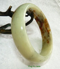 """Precious Earth"" Chinese River Jade Bangle Bracelet 60mm (NJ2550)"