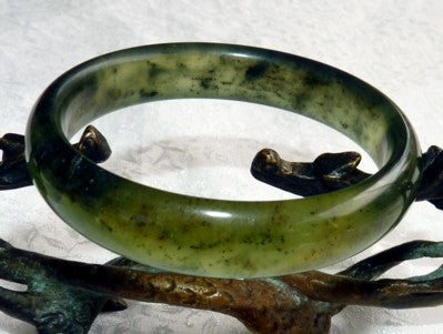 "Clearance - Translucent Green Chinese ""River Jade"" Bangle Bracelet 59mm (NJ2551)"