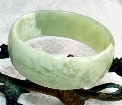 """White Clouds Over Green Earth"" Wide Cuff Style Chinese Jade Bangle Bracelet 60mm* (NJ2552)"
