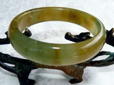"""Compassion"" Chinese River Jade Bangle Bracelet 59.5mm (NJ2553)"