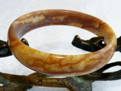 """Honey Hong"" Chinese River Jade Bangle Bracelet 54.5mm (NJ2557)"