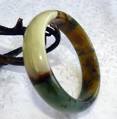 """Sunrise Sunset"" Chinese River Jade Bangle Bracelet 60mm (NJ2568)"