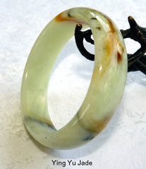 """Fiery Sunset"" Natural Color Chinese ""River Jade"" Bangle Bracelet  59mm (NJ2571)"