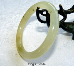 """Peppery"" Classic Round Chinese Jade Bangle Bracelet 57mm (NJ2572)"