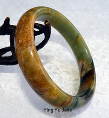 """Heavenly Earth"" Chinese River Jade Bangle Bracelet 60.5mm (NJ2573)"