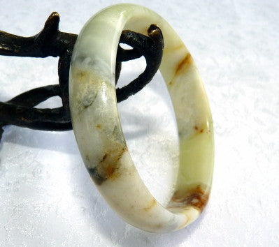 """Precious Earth"" Chinese River Jade Bangle Bracelet 54mm (NJ2576)"