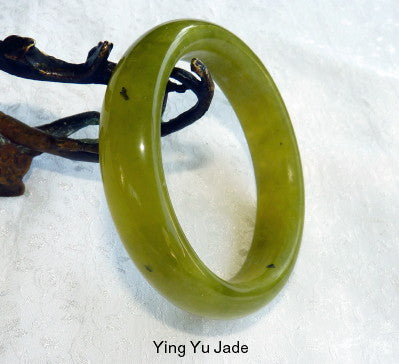 """Overcoming Obstacles""Green Chinese Jade Bangle Bracelet 61mm (NJ2583)"