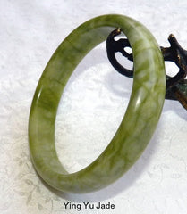 """Live Your Life"" Vintage Green Chinese Jade Bangle Bracelet 69.5mm (NJ2587)"