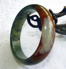"""Healthy Happy Life"" Chinese River Jade Bangle Bracelet 60 mm (NJ2595)"