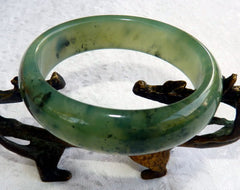 Translucent Green Chinese River Jade Bangle Bracelet 60 mm (NJ2597)