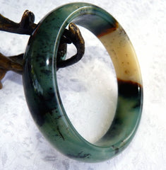 """Powerful Compassionate Woman"" Chinese River Jade Bangle Bracelet 60 mm (NJ2598)"