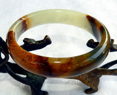 """Powerful Compassionate Woman"" Chinese River Jade Bangle Bracelet 60 mm (NJ2600)"
