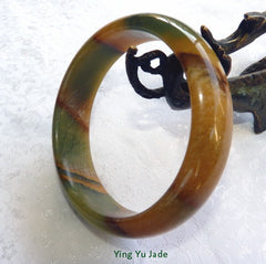 """Good Luck and Health"" Chinese River Jade Bangle Bracelet 60 mm (NJ2606)"