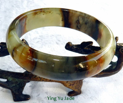 """Connect to Earth"" Chinese River Jade Bangle Bracelet 62 mm (NJ2609)"