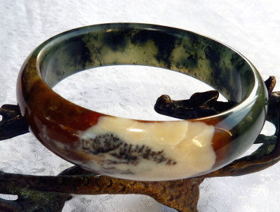 """Cloud over Earth"" Chinese ""River Jade"" Bangle Bracelet 59.5 mm (NJ2630)"