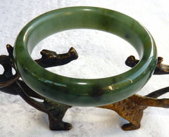 """Good Green"" Chinese ""River Jade"" Bangle Bracelet 60 mm (NJ2631)"
