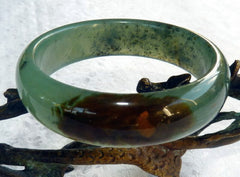 "Translucent Green with Brown Vein Chinese ""River Jade"" Bangle Bracelet 59.5 mm (NJ2632)"