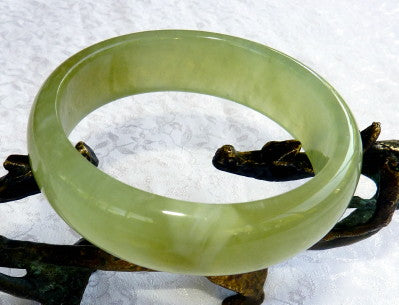 """Clouds of Bliss"" Green Chinese Jade Bangle Bracelet 58.5 mm (NJ2638)"