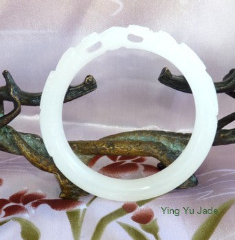 "Clearance-""Two Dragons Hold Pearl"" White Chinese Jade Bangle Bracelet ""Poweful Woman""  57.5mm (NJCAR-18-57)"