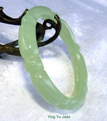 """Bamboo Knot"" Translucent Carved Chinese Jade Bangle Bracelet 65mm (NJCARV-19-65)"