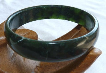 """Luminous"" Deep Deep Green Chinese Jade Bangle Bracelet 60mm (NJL2233)"