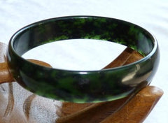 """Luminous"" Deep Deep Green Chinese Jade Bangle Bracelet 60.5mm (NJL2235)"
