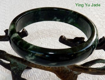 Yin Clouds on Yang  Deep Green Chinese Jade Bangle Bracelet 60mm (NJL2239)